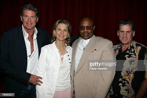 Actors David HasselhoffLyndsay WagnerRoger E Mosley and Paul Michael Glaser pose at the Academy of Television Arts and Sciences and the Stunts Peer...