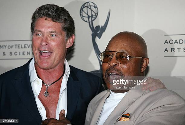 Actors David Hasslehoffand Roger E Mosley attends the Academy of Television Arts and Sciences and the Stunts Peer Group Emmy Nominee Party For Stunt...