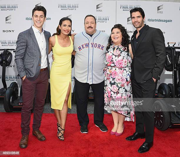 "Actors David Henrie, Daniella Alonso, Kevin James, Raini Rodriguez, and Eduardo Verastegui pose for a picutre at the ""Paul Blart: Mall Cop 2"" New..."