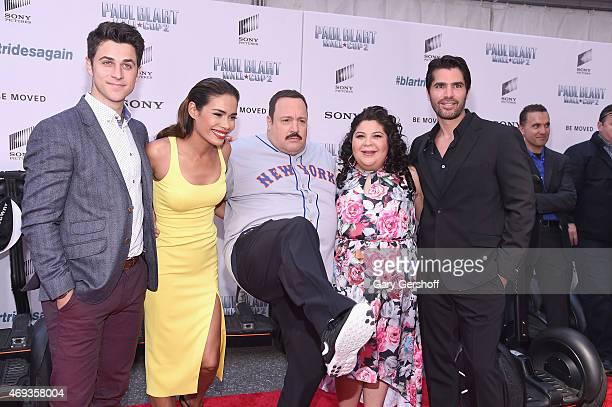 Actors David Henrie Daniella Alonso Kevin James Raini Rodriguez and Eduardo Verastegui attend Paul Blart Mall Cop 2 New York Premiere at AMC Loews...