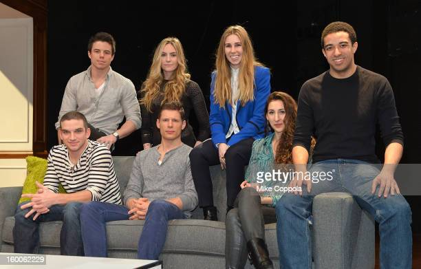 Actors David Hull Aleque Reid Zosia Mamet Evan Jonigkeit Matt Lauria Lauren Culpepper and Kobi Libii attend Really Really Cast Photo Call at Lucille...