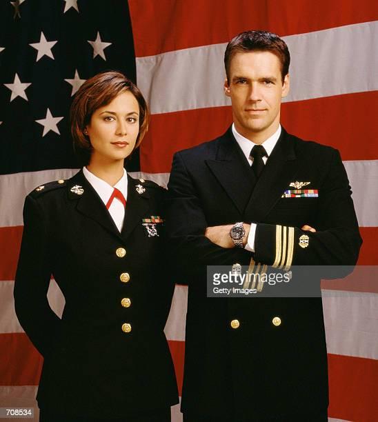 Actors David James Elliott and Catherine Bell star in JAG