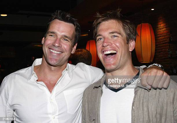 Actors David James Elliott and Michael Weatherly attend the CBS Allstar Party at Lucky Strikes Bowling on July 20 2003 in Hollywood California
