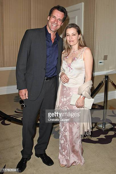 Actors David James Elliott and wife Nanci Chambers arrive at the 21st Annual Night of 100 Stars Awards Gala at Beverly Hills Hotel on February 27...