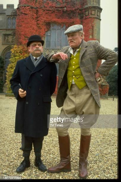 Actors David Jason and Charles Gray in character as James Skullion and Sir Cathcart D'Eath in sitcom Porterhouse Blue, circa 1987.