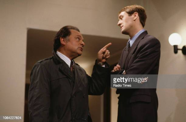 Actors David Jason and Nicholas Lyndhurst arguing in a scene from episode 'The Chance of a Lunchtime' of the television sitcom 'Only Fools and...