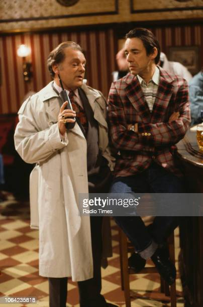 Actors David Jason and Roger LloydPack in a pub scene from episode 'The Sky's the Limit' of the BBC Television sitcom 'Only Fools and Horses'...