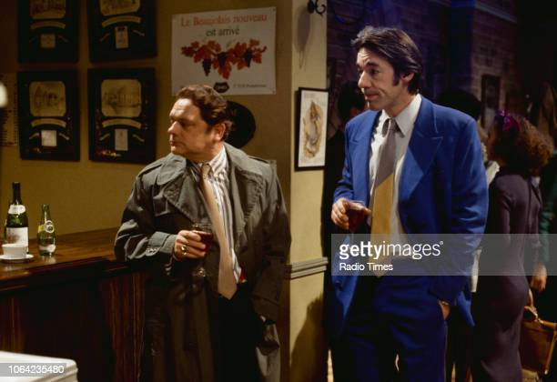 Actors David Jason and Roger LloydPack in a wine bar scene from episode 'Yuppy Love' of the BBC Television sitcom 'Only Fools and Horses' December...