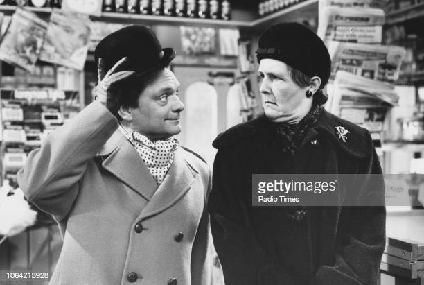 Actors David Jason and Stephanie Cole in a scene from the television sitcom 'Open All Hours' April 21st 1985