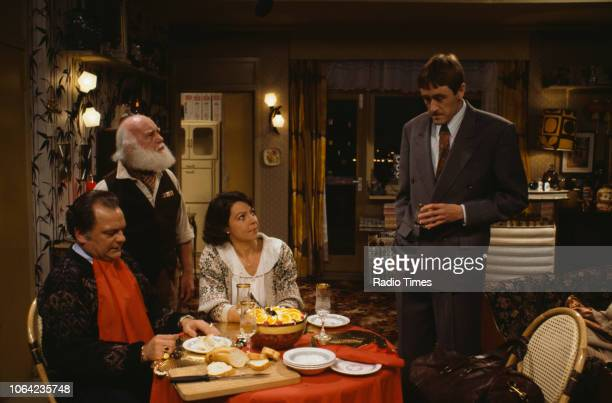 Actors David Jason Buster Merryfield Tessa PeakeJones and Nicholas Lyndhurst in a scene from episode 'Rodney Come Home' of the BBC Television sitcom...