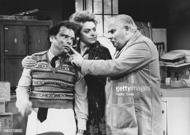 Actors David Jason Lynda Baron and Ronnie Barker in a scene from the television sitcom 'Open All Hours' March 28th 1982