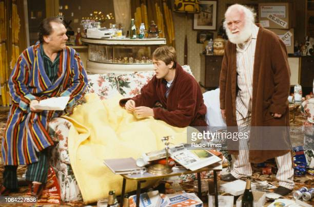 Actors David Jason Nicholas Lyndhurst and Buster Merryfield in a scene from episode 'The Chance of a Lunchtime' of the television sitcom 'Only Fools...