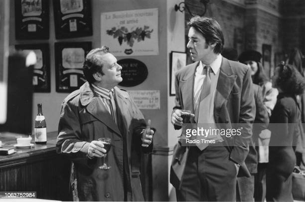 Actors David Jason Roger Lloyd Pack chatting in a wine bar in the 'Only Fools and Horses' episode 'Yuppy Love' December 18th 1988