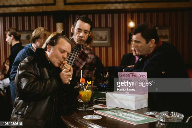 Actors David Jason Roger LloydPack and Kenneth MacDonald in a pub scene from the Christmas special episode 'Rodney Come Home' of the BBC Television...