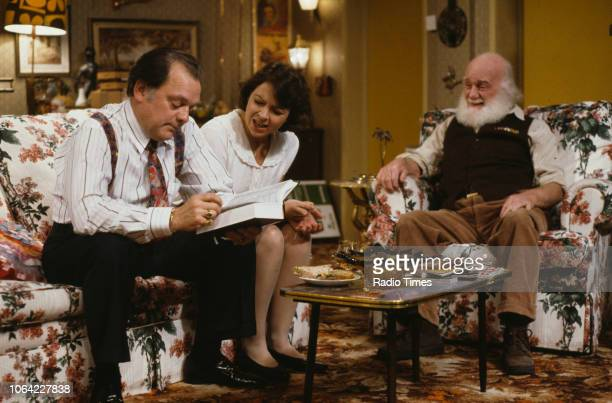 Actors David Jason Tessa PeakeJones and Buster Merryfield in a scene from episode 'The Chance of a Lunchtime' of the television sitcom 'Only Fools...