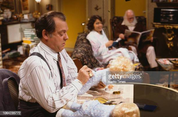 Actors David Jason Tessa PeakeJones and Buster Merryfield in a scene from episode 'Rodney Come Home' of the BBC Television sitcom 'Only Fools and...