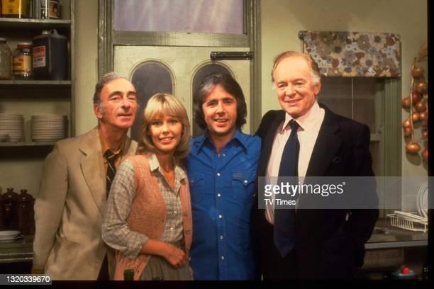 Actors David Kelly, Tessa Wyatt, Richard O'Sullivan and Tony Britton photographed on the set of sitcom Robin's Nest, circa 1979.