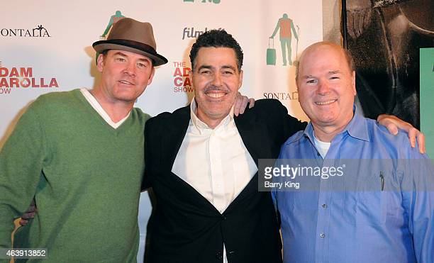 Actors David Koechner Adam Carolla and Larry Miller arrive at the Los Angeles screening of 'Road Hard' at the Hollywood Improv on February 19 2015 in...