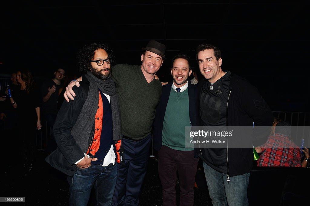 Actors David Koechner, Nick Kroll, and Rob Riggle attend the Bud Light Hotel on February 1, 2014 in New York City.