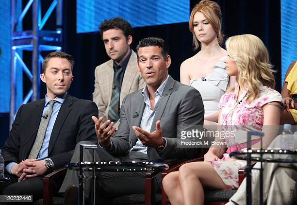 Actors David Krumholtz and Leah Renee Executive Producer Chad Hodge and actors Eddie Cibrian and Amber Heard speak during 'The Playboy Club ' panel...