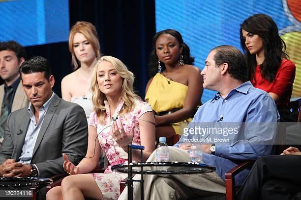 Actors David Krumholtz Eddie Cibrian Leah Renee Amber Heard Naturi Naughton Jenna DewanTatum and Executive Producer Ian Bierderman speak during 'The...