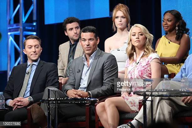 Actors David Krumholtz Leah Renee and Naturi Naughton Executive Producer Chad Hodge and actors Eddie Cibrian and Amber Heard speak during 'The...
