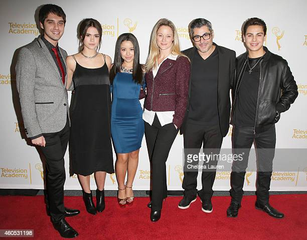 Actors David Lambert Maia Mitchell Cierra Ramirez Teri Polo Danny Nucci and Jake T Austin attend 'An Evening With The Fosters' presented by the...