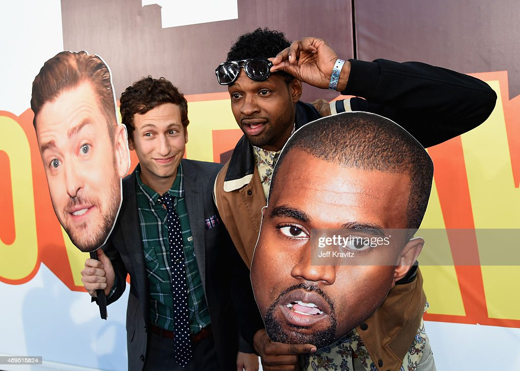 Actors David Magidoff (L) and Derek Gaines attend The 2015 MTV Movie Awards at Nokia Theatre L.A. Live on April 12, 2015 in Los Angeles, California.