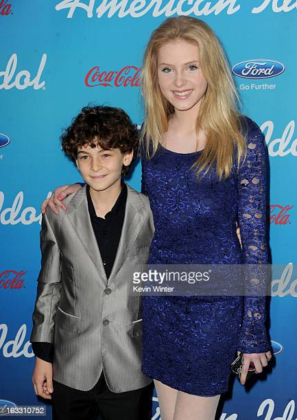 Actors David Mazouz and Saxon Sharbino attend the FOX 'American Idol' finalists party at The Grove on March 7 2013 in Los Angeles California