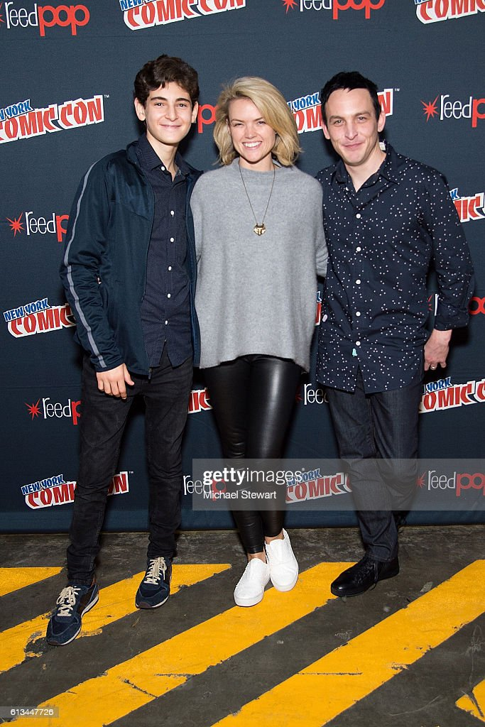 Actors David Mazouz, Erin Richards and Robin Lord Taylor attend the Inside Gotham panel during 2016 New York Comic Con at the Jacob Javitz Center on October 8, 2016 in New York City.