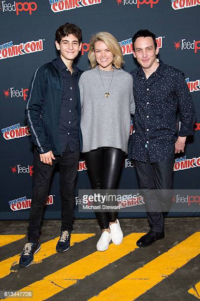 Actors David Mazouz Erin Richards and Robin Lord Taylor attend the Inside Gotham panel during 2016 New York Comic Con at the Jacob Javitz Center on...