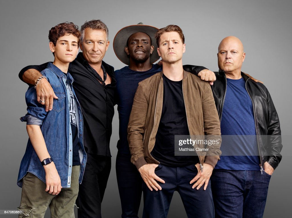 Actors David Mazouz, Sean Pertwee, Camren Bicondova, , Chris Chalk, Benjamin McKenzie and Michael Chiklis from 'Gotham' are photographed for Entertainment Weekly Magazine on July 23, 2016 at Comic Con in the Hard Rock Hotel in San Diego, California.