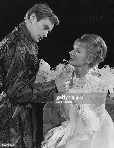 Actors David McCallum and Ann Todd in costume during rehearsals for the play 'The Vortex' at Lime Grove London April 26th 1960