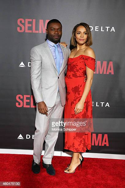 Actors David Oyelowo and Carmen Ejogo attend Selma New York Premiere Inside Arrivals at Ziegfeld Theater on December 14 2014 in New York City