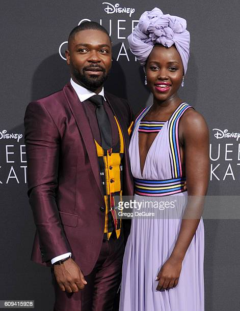 """Actors David Oyelowo and Lupita Nyong'o arrive at the premiere of Disney's """"Queen Of Katwe"""" at the El Capitan Theatre on September 20, 2016 in..."""