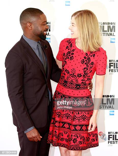Actors David Oyelowo and Rosamund Pike attend the 'A United Kingdom' photocall during the 60th BFI London Film Festival at The Mayfair Hotel on...