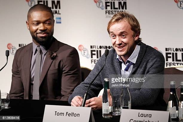 Actors David Oyelowo and Tom Felton attend the 'A United Kingdom' press conference during the 60th BFI London Film Festival at The Mayfair Hotel on...