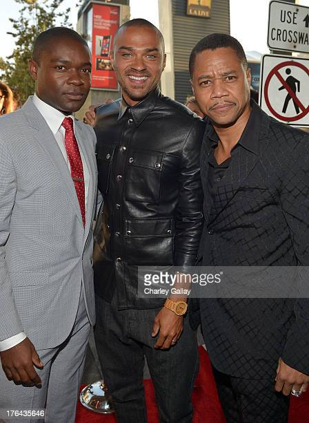 Actors David Oyelowo Jesse Williams and Cuba Gooding Jr attend LEE DANIELS' THE BUTLER Los Angeles premiere hosted by TWC Budweiser and FIJI Water...