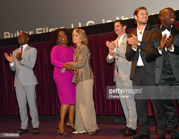 Actors David Oyelowo Oprah Winfrey Jane Fonda James Marsden Alex Pettyfer and Elijah Kelley onstage at the LEE DANIELS' THE BUTLER Los Angeles...
