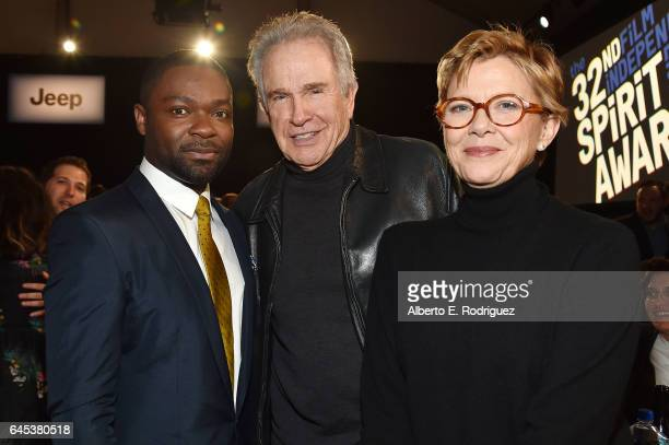 Actors David Oyelowo Warren Beatty and Annette Bening attend the 2017 Film Independent Spirit Awards at the Santa Monica Pier on February 25 2017 in...