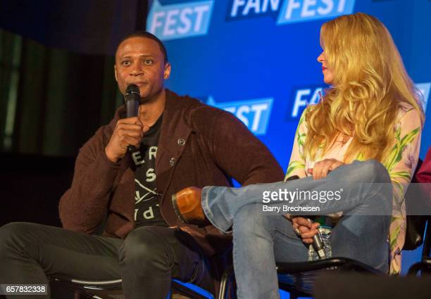 Actors David Ramsey and Charlotte Ross during the Walker Stalker Con Chicago at the Donald E Stephens Convention Center on March 25 in Rosemont...