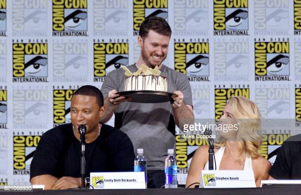 Actors David Ramsey and Katie Cassidy attend the 'Arrow' Video Presentation And QA during ComicCon International 2017 at San Diego Convention Center...