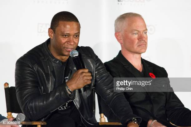 Actors David Ramsey and Neal McDonough attend 'The Arrow QA for Fan Expo Vancouver in the Vancouver Convention Centre on November 11 2017 in...