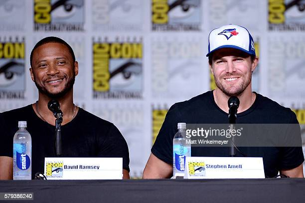 Actors David Ramsey and Stephen Amell attend the Arrow Special Video Presentation and QA during ComicCon International 2016 at San Diego Convention...