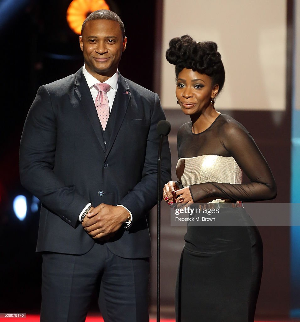 Actors David Ramsey (L) and Teyonah Parris speak onstage during the 47th NAACP Image Awards presented by TV One at Pasadena Civic Auditorium on February 5, 2016 in Pasadena, California.