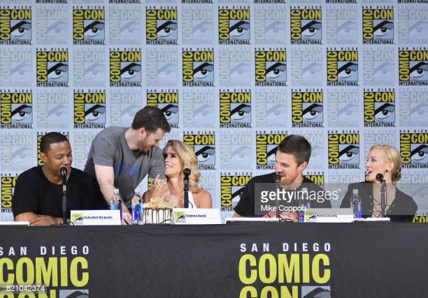 Actors David Ramsey Emily Bett Rickards Stephen Amell and Katie Cassidy attend the 'Arrow' Video Presentation And QA during ComicCon International...
