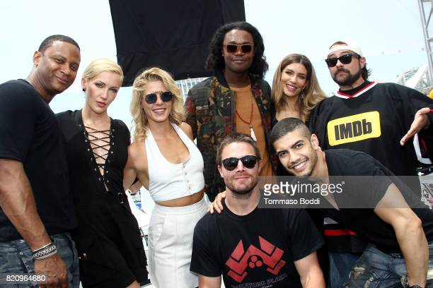 Actors David Ramsey Katie Cassidy Emily Bett Rickards Echo Kellum Stephen Amell Rick Gonzalez Juliana Harkavy and host Kevin Smith on the #IMDboat at...