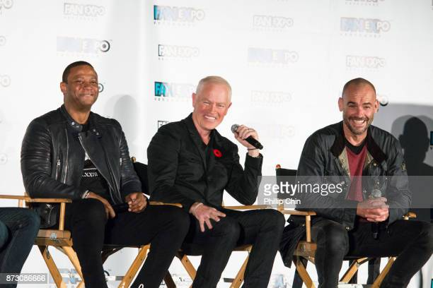 Actors David Ramsey Neal McDonough and Paul Blackthorne attend 'The Arrow' QA at Fan Expo Vancouver in the Vancouver Convention Centre on November 11...