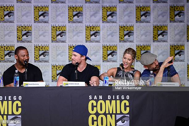 Actors David Ramsey Stephen Amell Emily Bett Rickards and Paul Blackthorne attend the Arrow Special Video Presentation and QA during ComicCon...