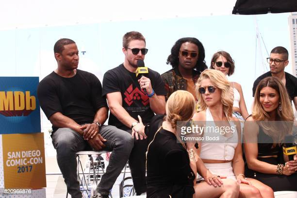 Actors David Ramsey Stephen Amell Katie Cassidy Emily Bett Rickards Echo Kellum Juliana Harkavy Willa Holland and Rick Gonzalez on the #IMDboat at...